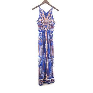 Maude Geometric Print Side Slit Maxi Dress